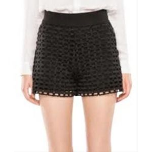 Maje Isidor Guipure Lace High Waist Black Short XS